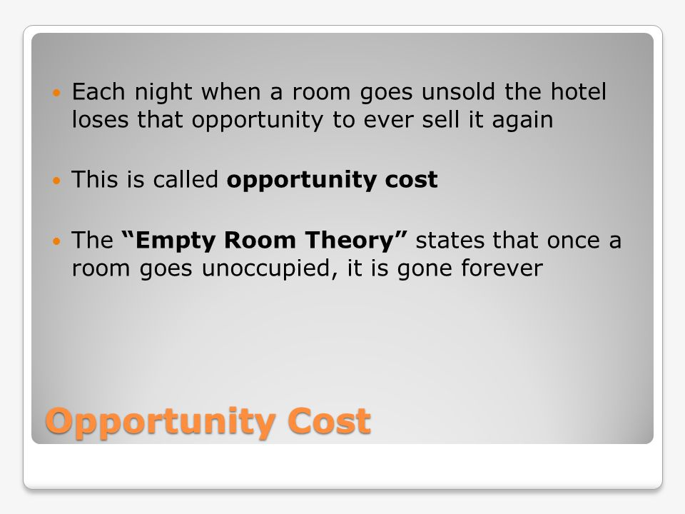 Each night when a room goes unsold the hotel loses that opportunity to ever sell it again