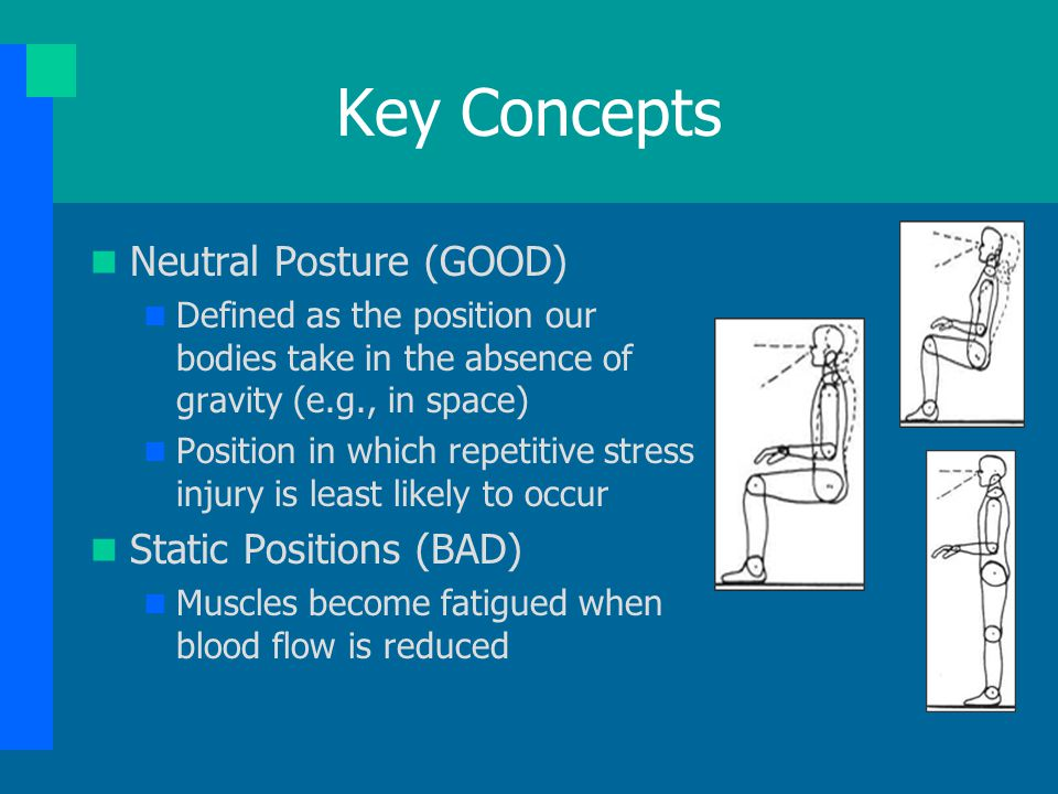 Key Concepts Neutral Posture (GOOD) Static Positions (BAD)