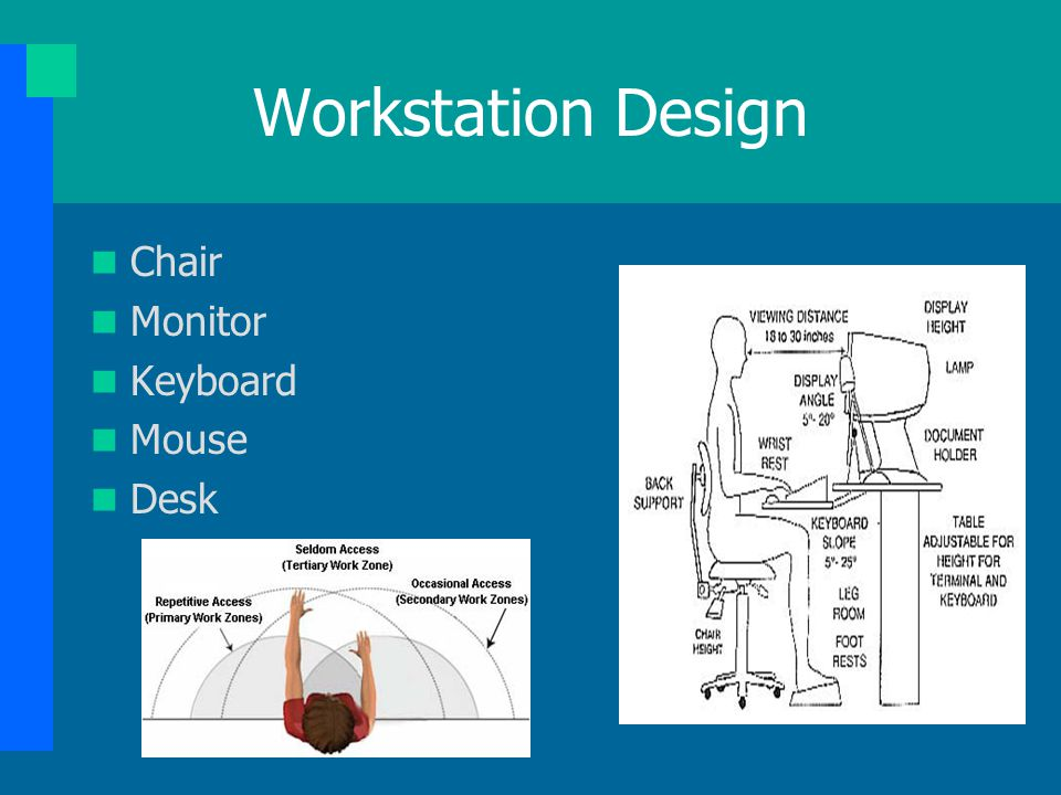 Workstation Design Chair Monitor Keyboard Mouse Desk