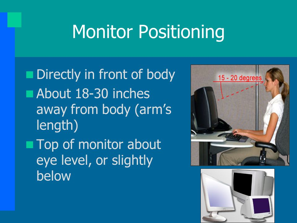 Monitor Positioning Directly in front of body