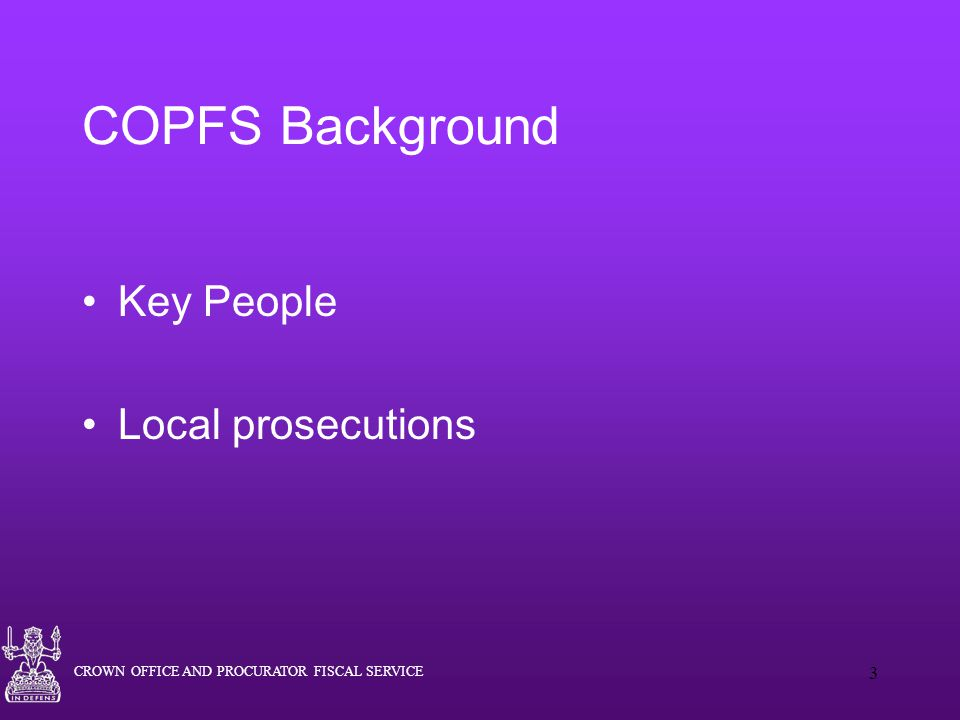 COPFS Background Key People Local prosecutions