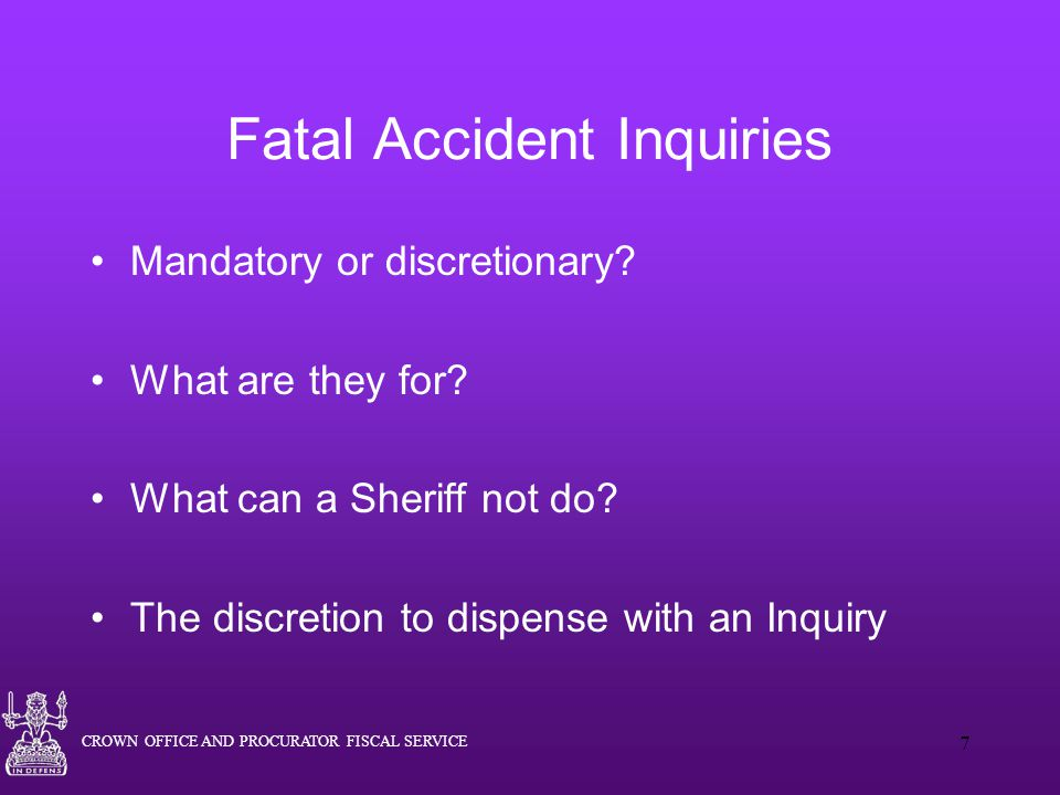 Fatal Accident Inquiries
