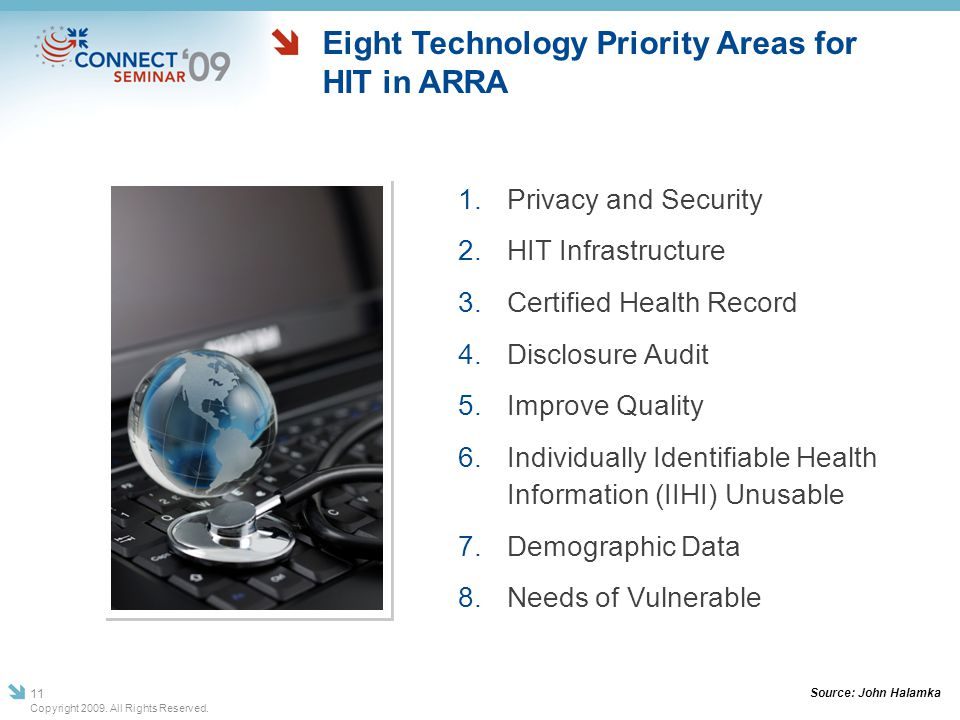 Eight Technology Priority Areas for HIT in ARRA