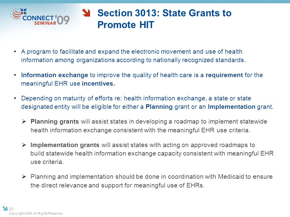 Section 3013: State Grants to Promote HIT