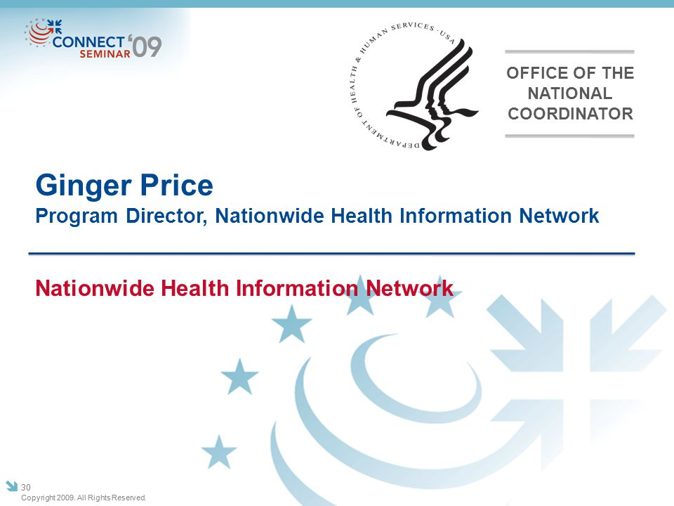Ginger Price Program Director, Nationwide Health Information Network