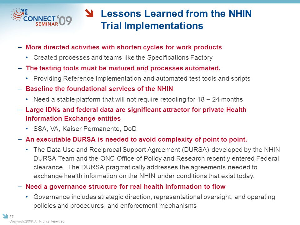 Lessons Learned from the NHIN Trial Implementations