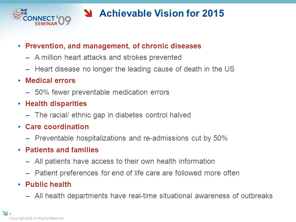 Achievable Vision for 2015 Prevention, and management, of chronic diseases. A million heart attacks and strokes prevented.