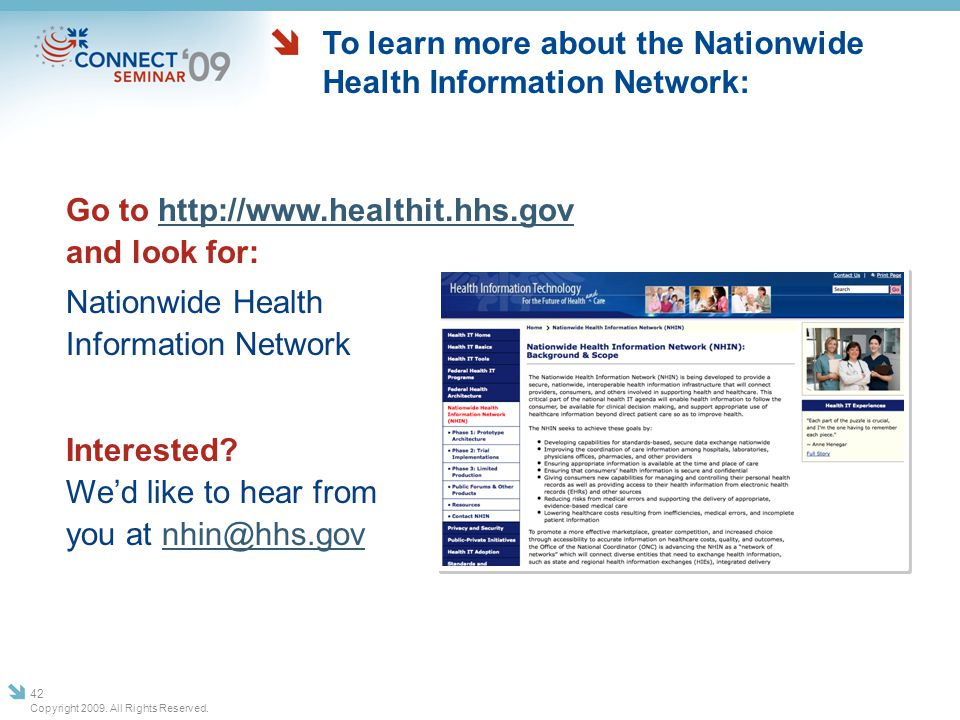 To learn more about the Nationwide Health Information Network: