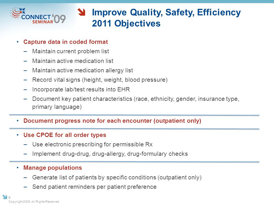 Improve Quality, Safety, Efficiency 2011 Objectives