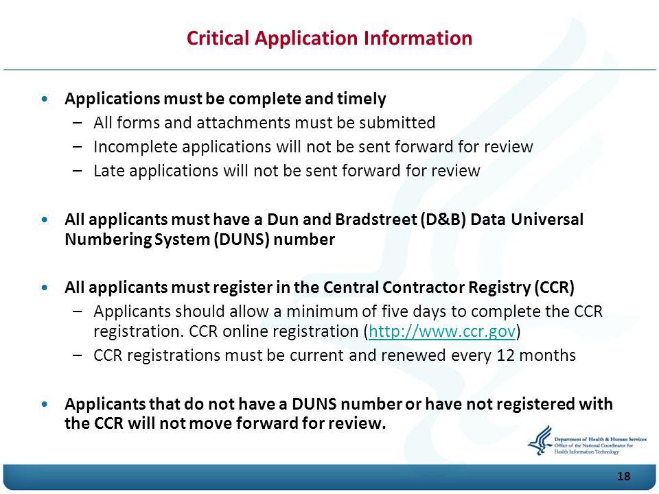 Critical Application Information