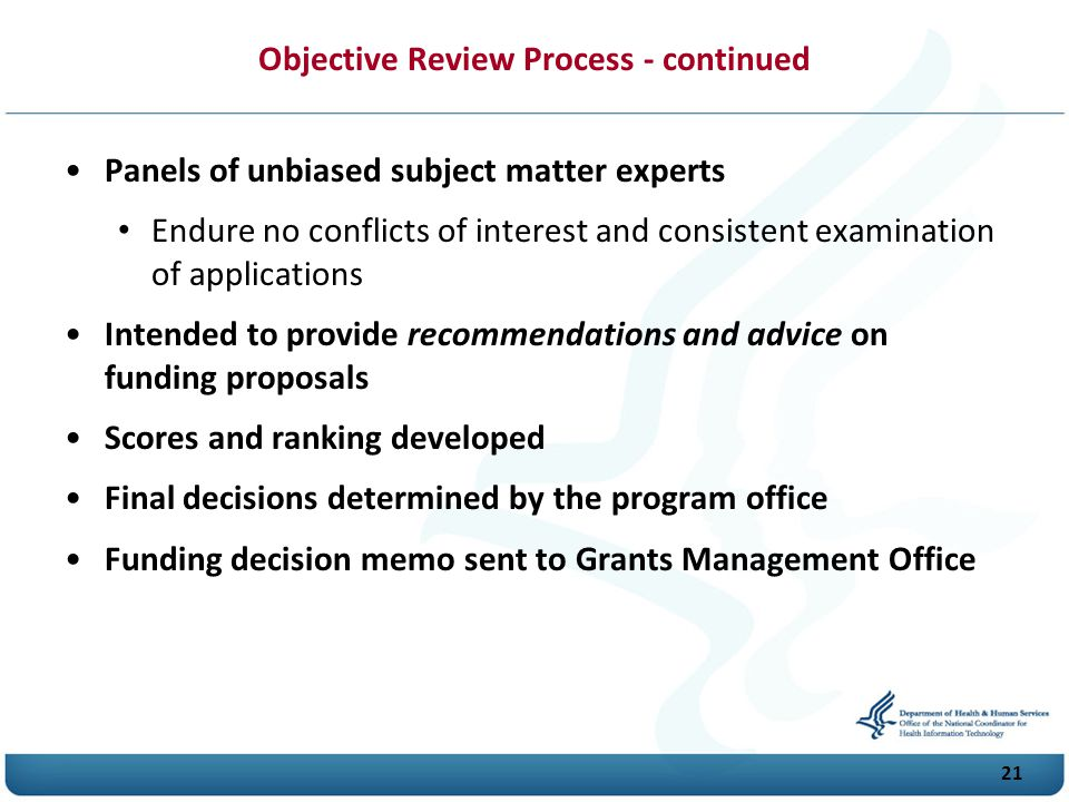 Objective Review Process - continued