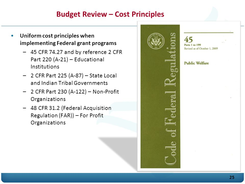 Budget Review – Cost Principles