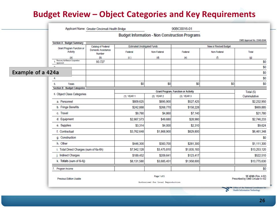 Budget Review – Object Categories and Key Requirements