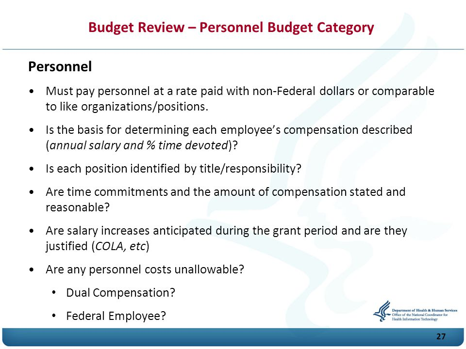 Budget Review – Personnel Budget Category
