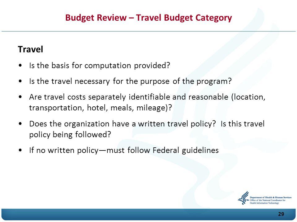 Budget Review – Travel Budget Category