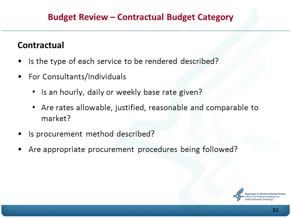 Budget Review – Contractual Budget Category