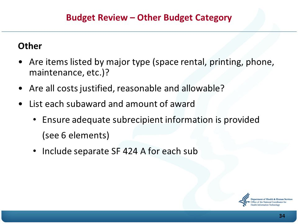 Budget Review – Other Budget Category