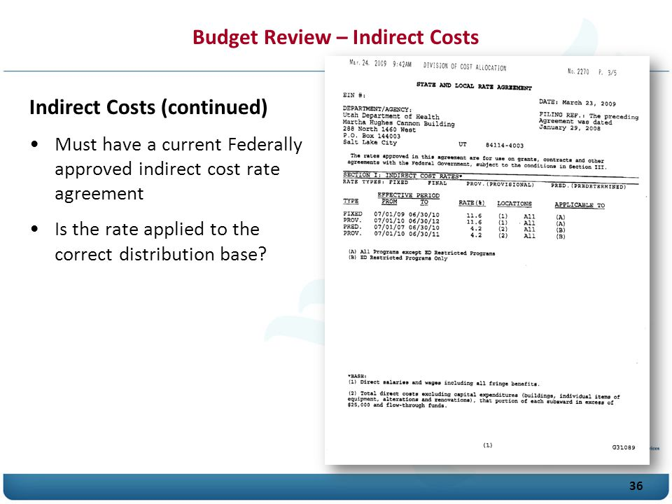 Budget Review – Indirect Costs