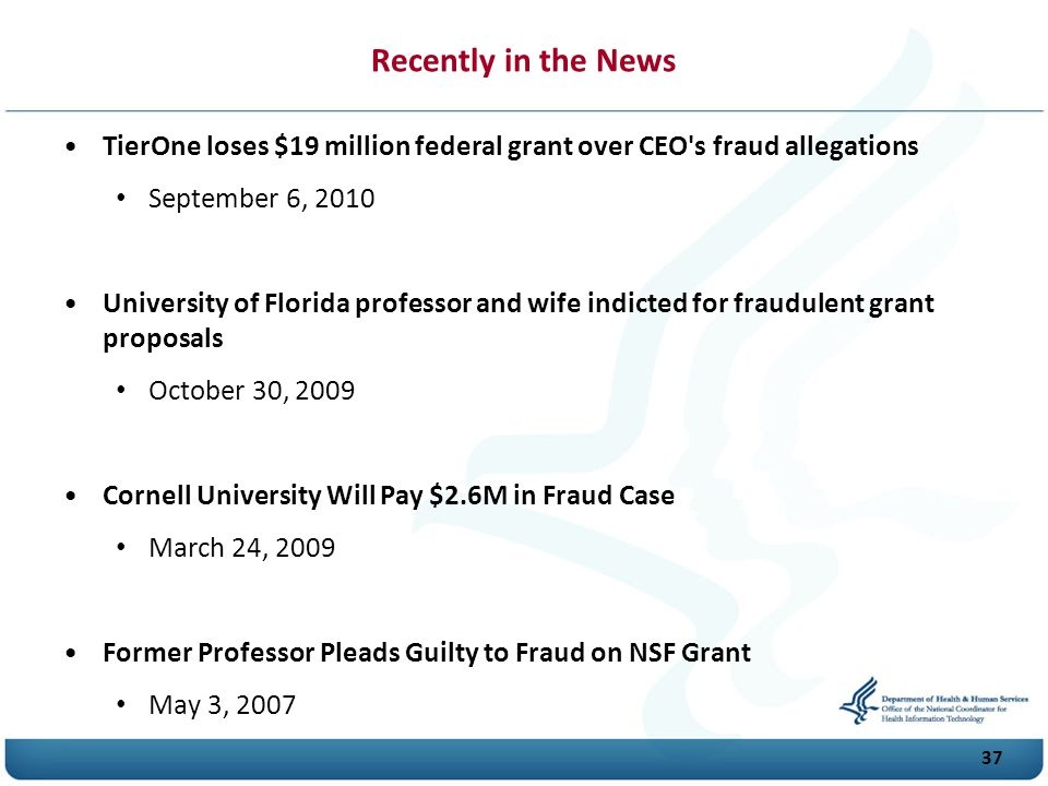 Recently in the News TierOne loses $19 million federal grant over CEO s fraud allegations. September 6, 2010.