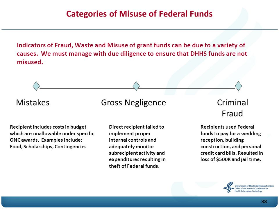 Categories of Misuse of Federal Funds