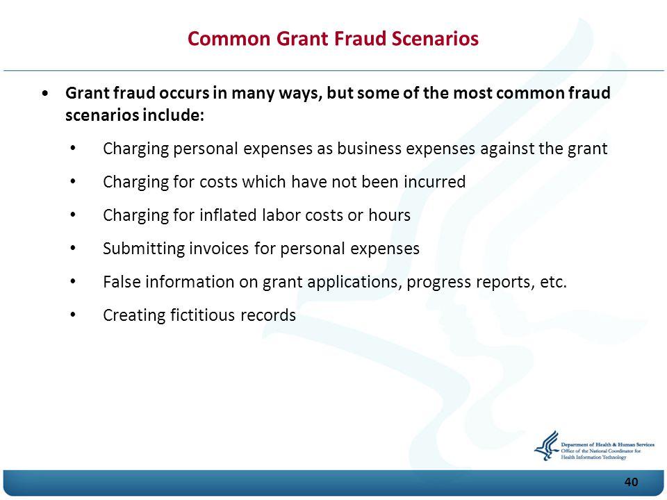 Common Grant Fraud Scenarios
