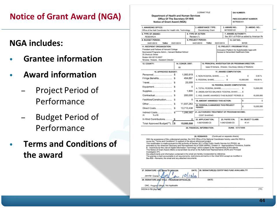 Notice of Grant Award (NGA)