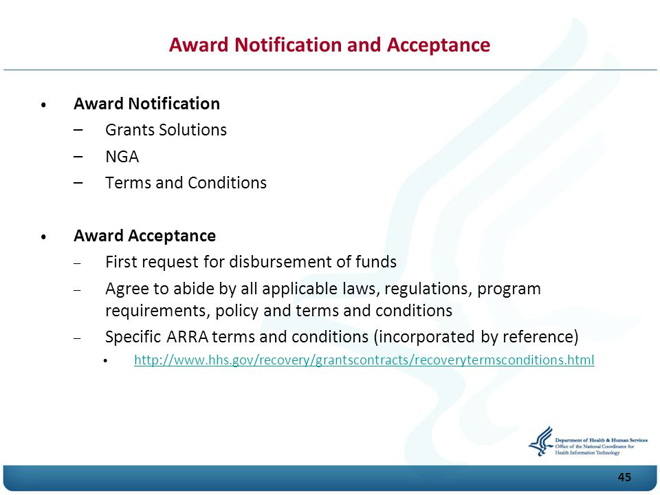 Award Notification and Acceptance