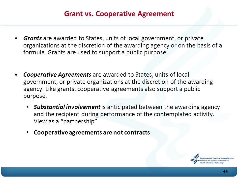 Grant vs. Cooperative Agreement