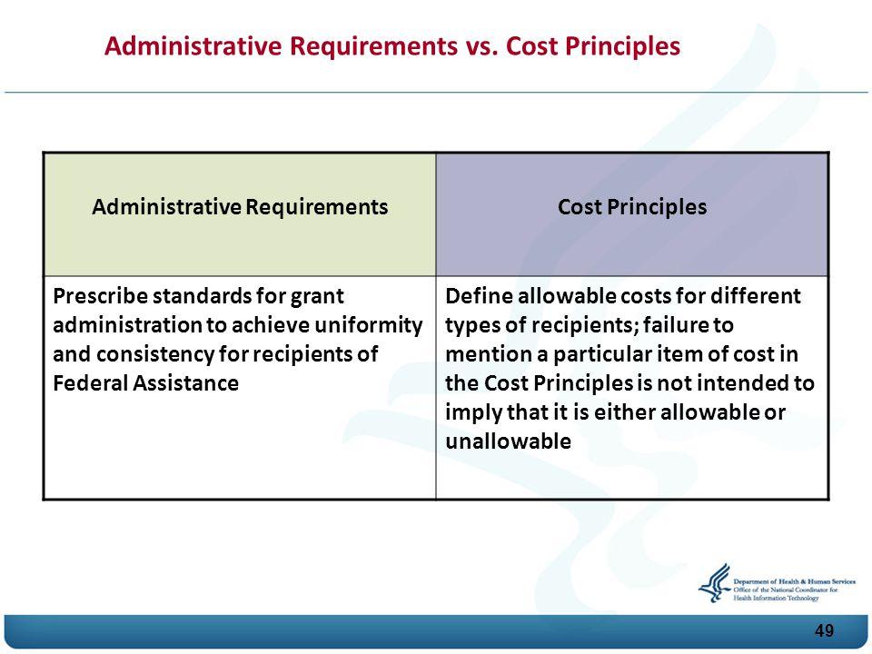 Administrative Requirements vs. Cost Principles