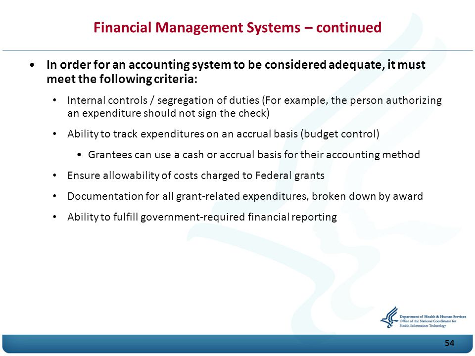 Financial Management Systems – continued