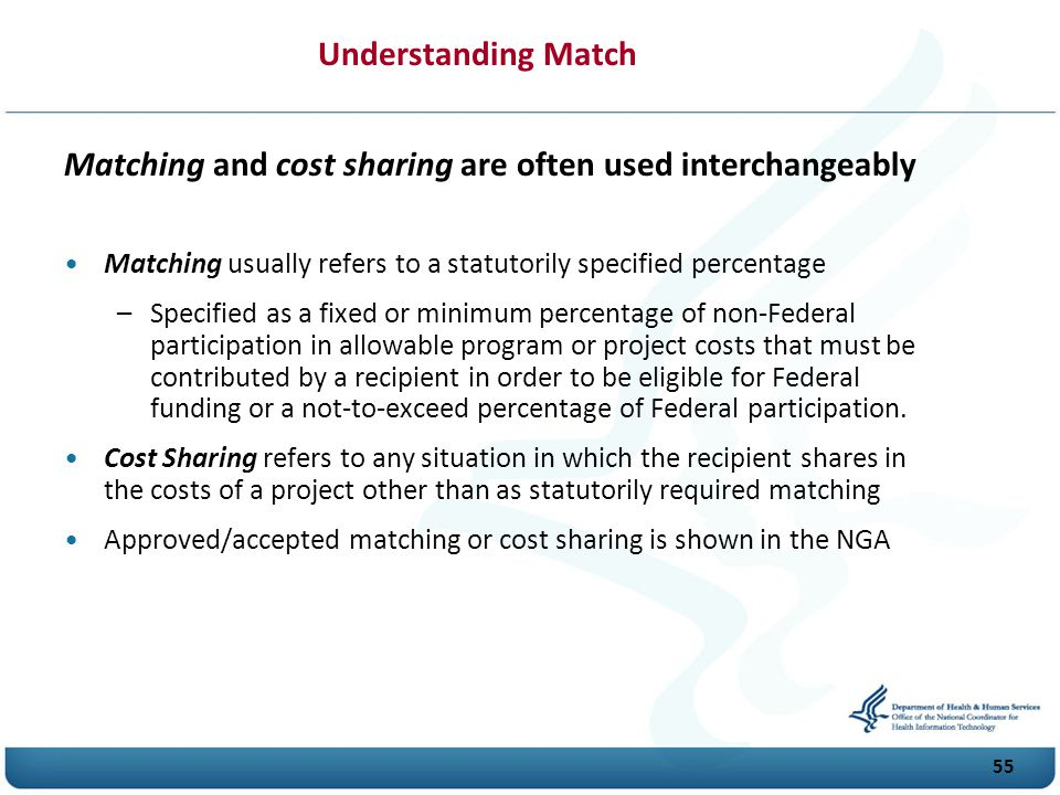 Matching and cost sharing are often used interchangeably