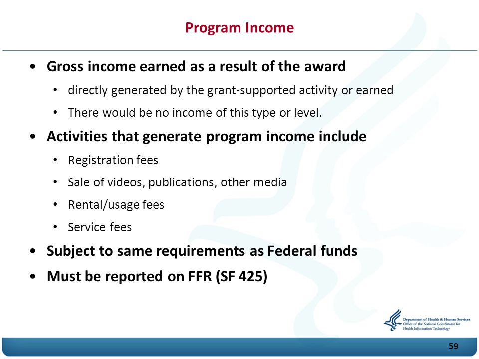 Gross income earned as a result of the award