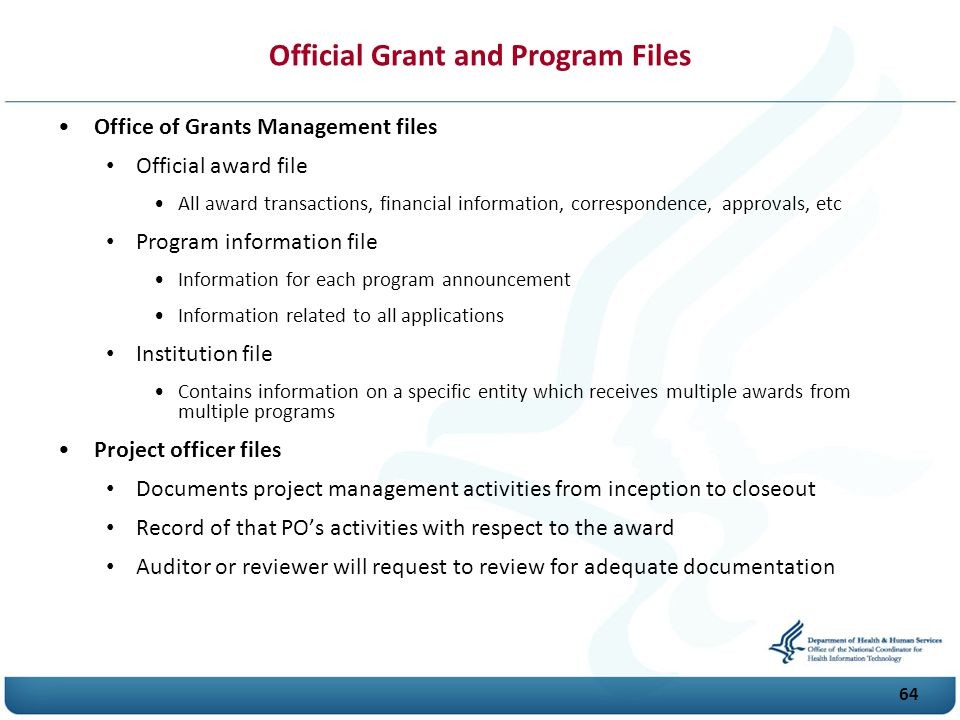 Official Grant and Program Files