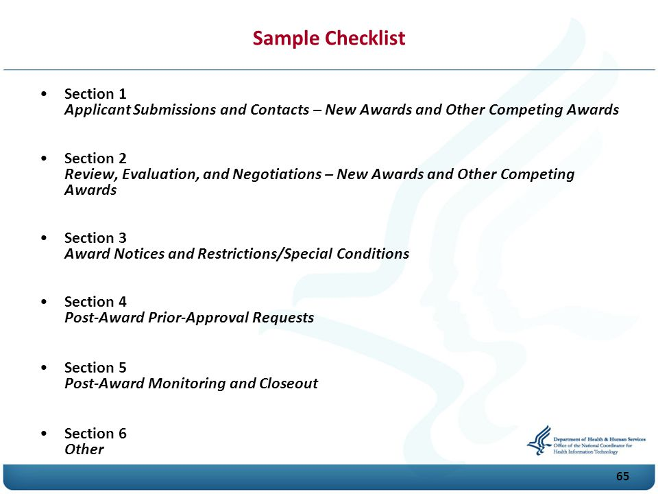 Sample Checklist Section 1 Applicant Submissions and Contacts – New Awards and Other Competing Awards.