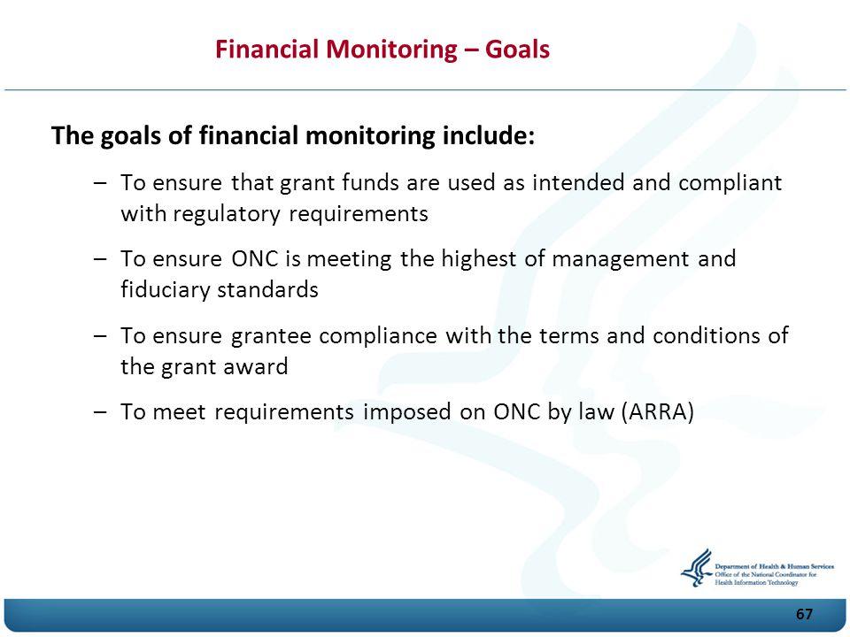 Financial Monitoring – Goals
