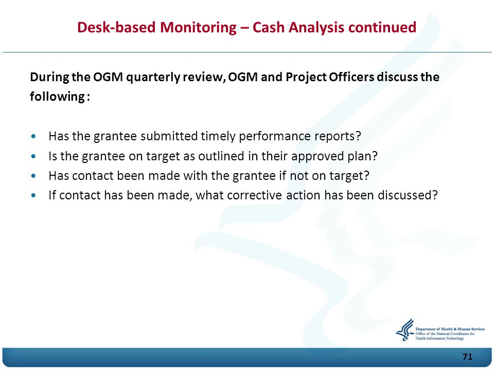 Desk-based Monitoring – Cash Analysis continued