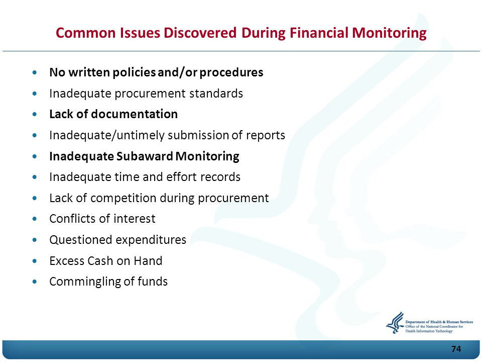 Common Issues Discovered During Financial Monitoring