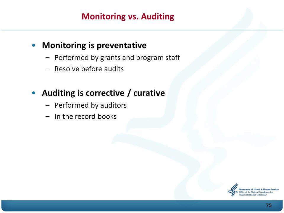 Monitoring vs. Auditing