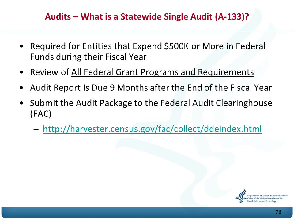 Audits – What is a Statewide Single Audit (A-133)