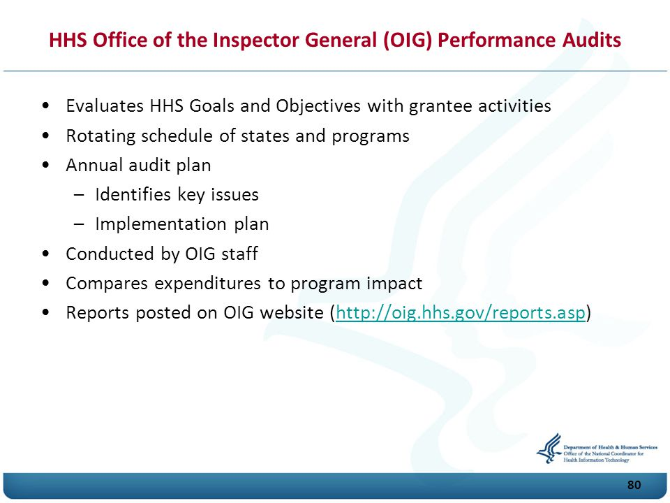 HHS Office of the Inspector General (OIG) Performance Audits