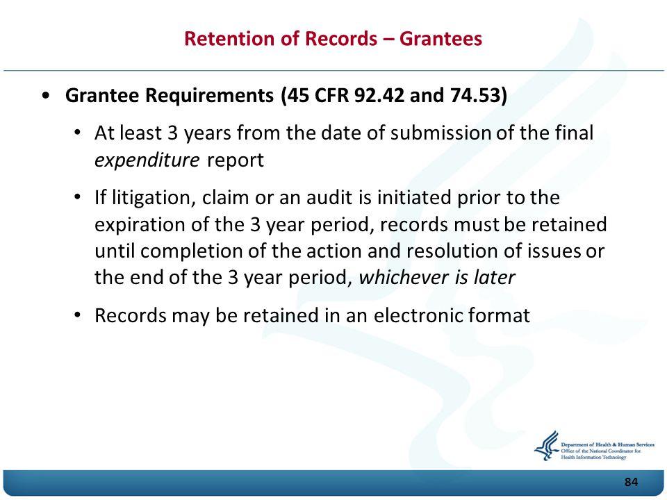 Retention of Records – Grantees