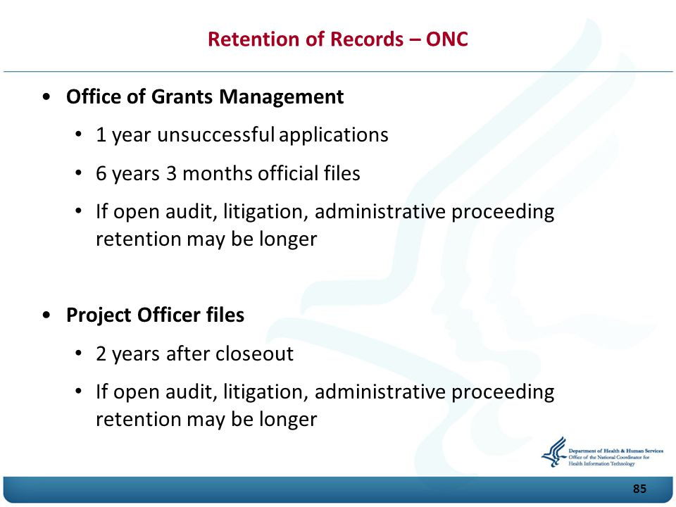 Retention of Records – ONC