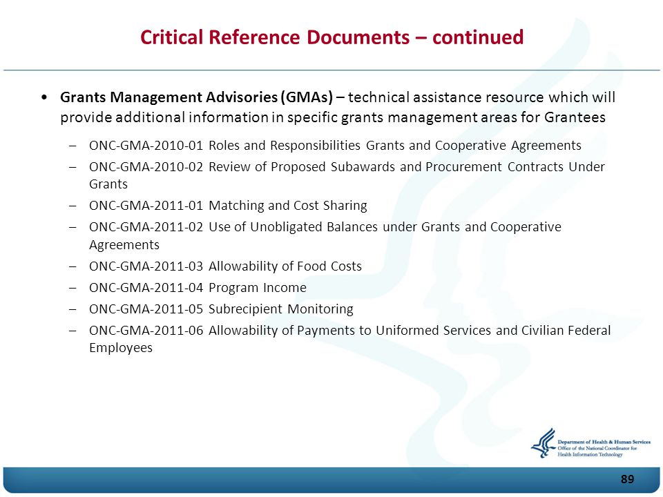 Critical Reference Documents – continued