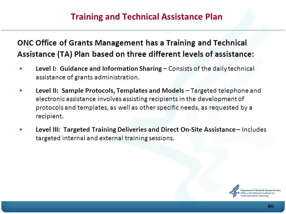 Training and Technical Assistance Plan