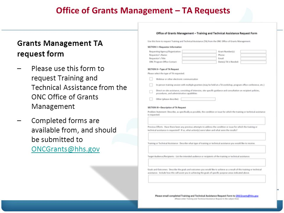 Office of Grants Management – TA Requests