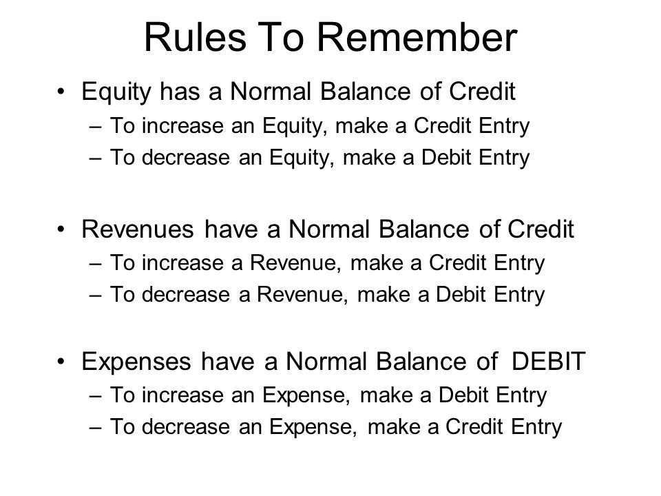 Rules To Remember Equity has a Normal Balance of Credit