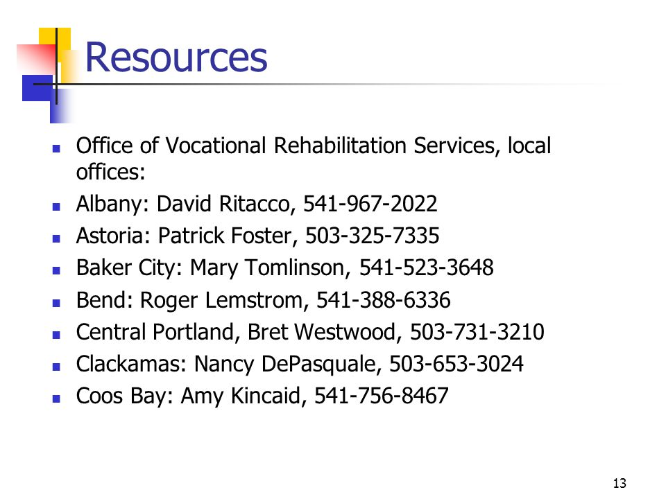 Resources Office of Vocational Rehabilitation Services, local offices: