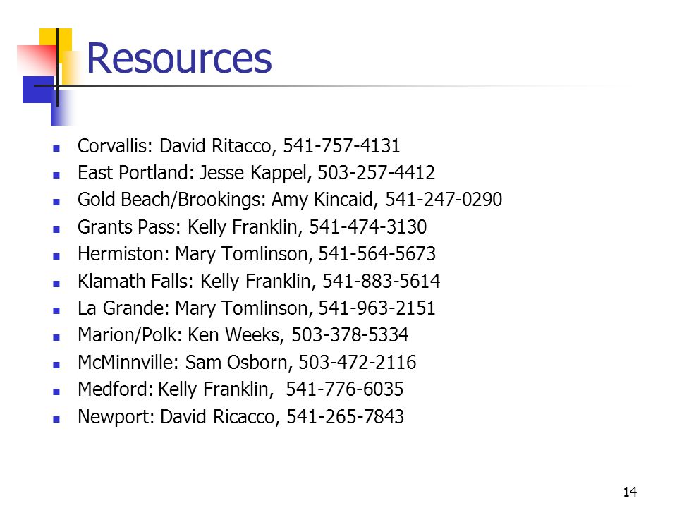 Resources Corvallis: David Ritacco, 541-757-4131
