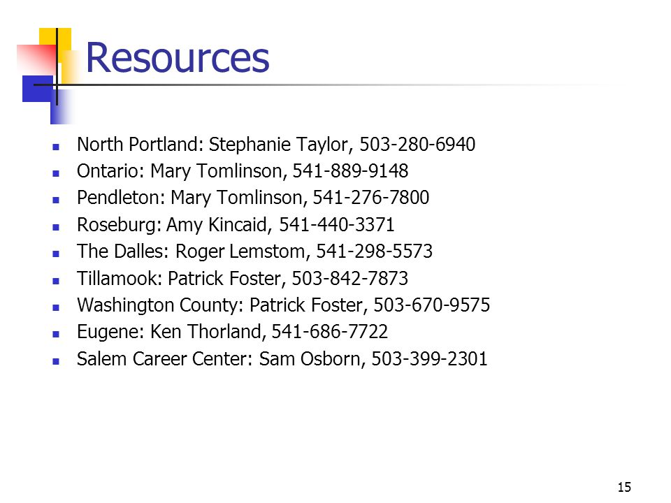 Resources North Portland: Stephanie Taylor, 503-280-6940