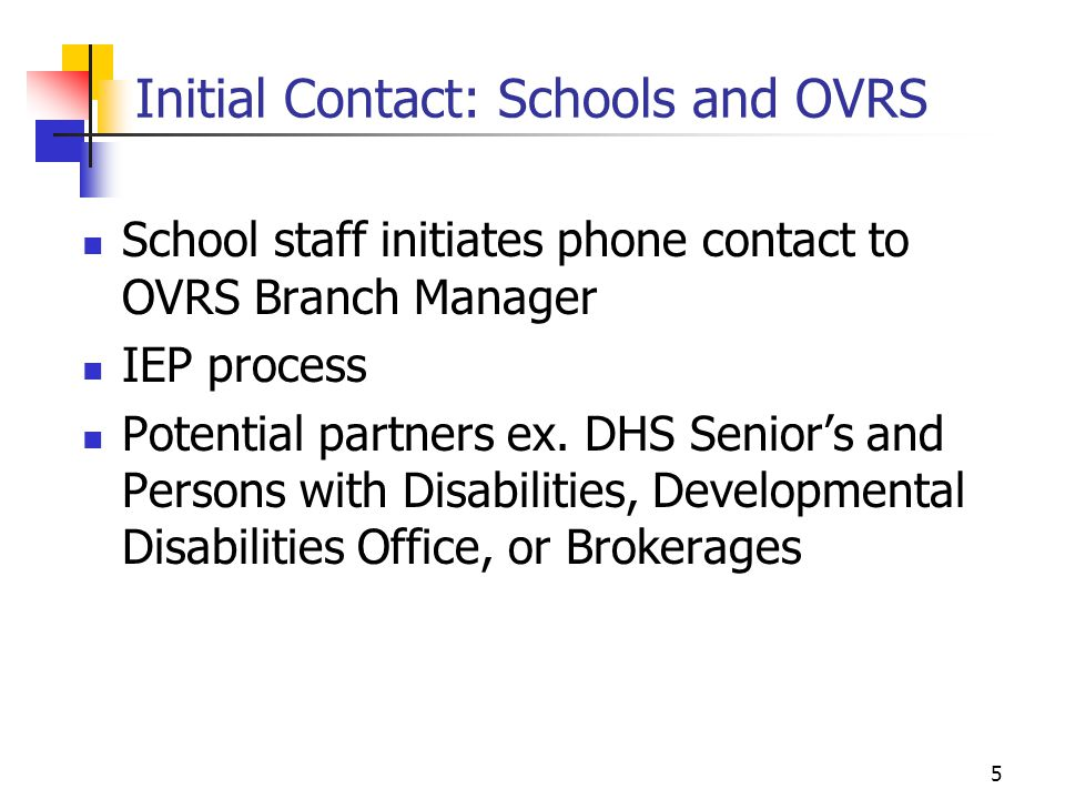 Initial Contact: Schools and OVRS